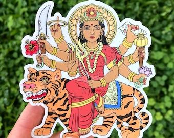 Durga Sticker, Hindu Goddess God Art, Decal Goddess for Strength, Courage, Love