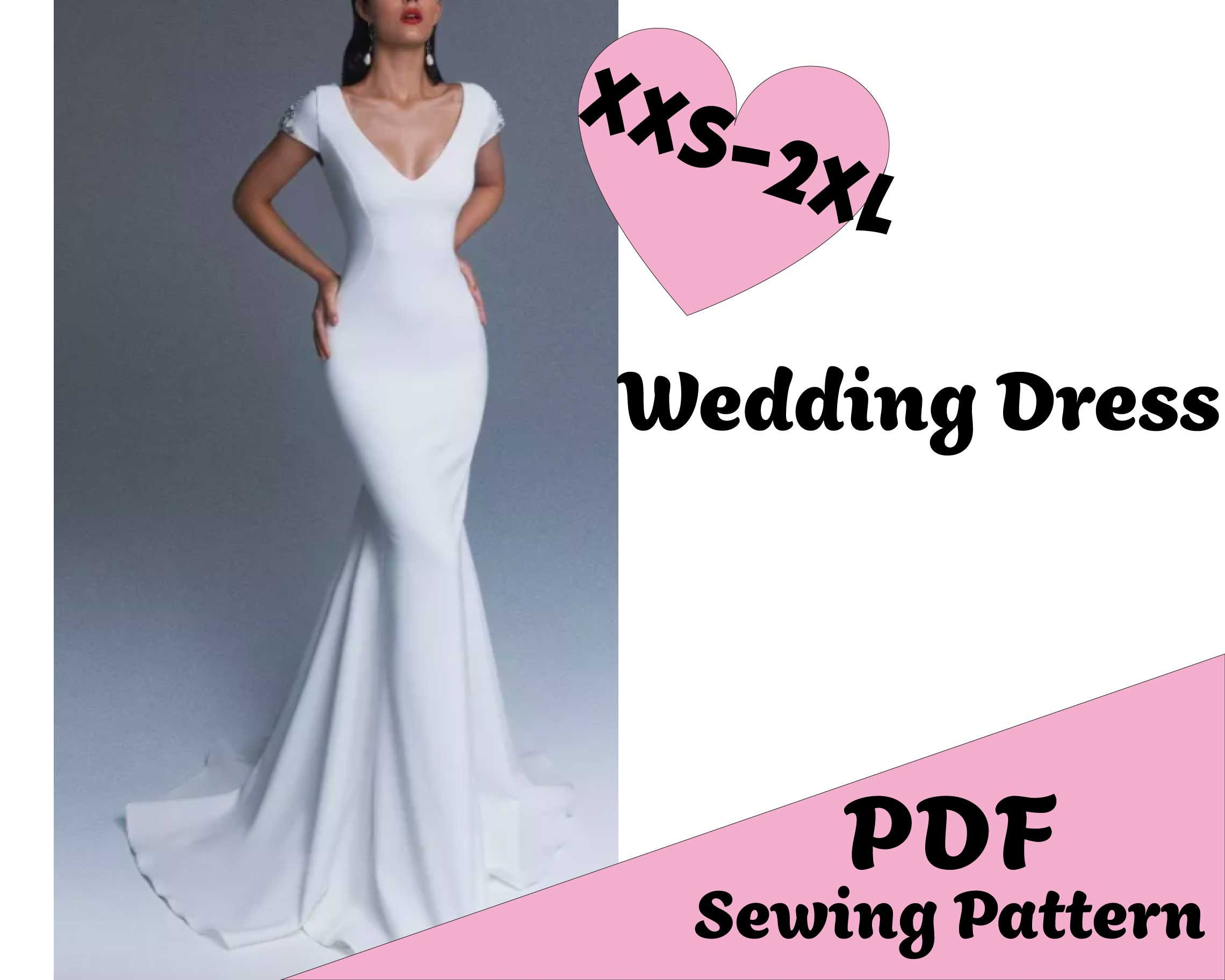 PDF Sewing Pattern Wedding Dress XXS 20XL Slim Fit Bridal Gown V Neckline  Dress with Train Cape Sleeve Prom Outfit Plus Size Ball Outfit