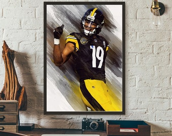 6fa3e158093 JuJu Smith-Schuster Pittsburgh Steelers Poster, Sports Art Print,  Basketball Poster, Kids Decor, Man Cave