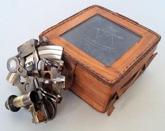 Vintage Brass Sextant W/ Wooden Box Collectible Replica Ship Nautical Xmas Gift Maritime