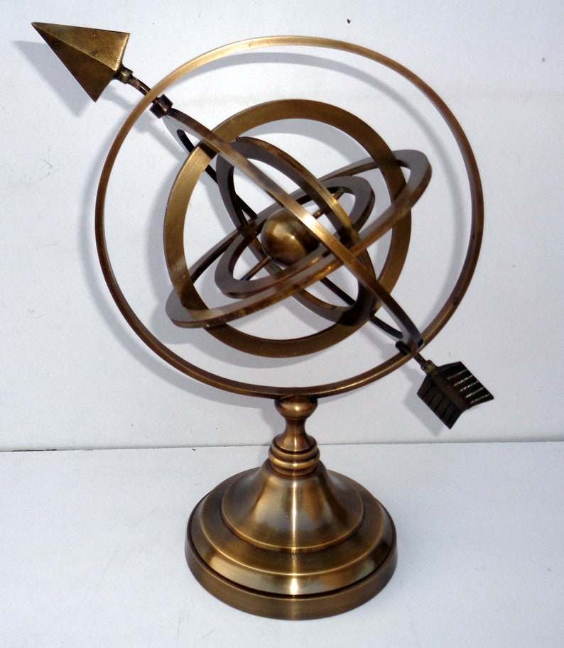 Antique Brass World Globe Armillary Huge Base Compass Home Decorative