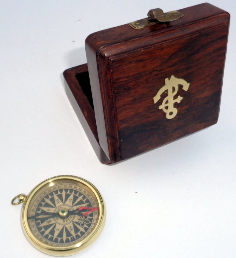 The Cheapest Price Nautical Brass Marine Push Button Pocket Compass With Anchor Wooden Box Maritime Antiques