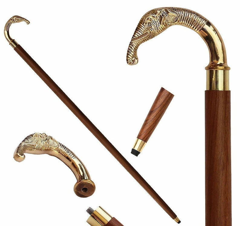 Antique Designer Brass Elephant Head Handle Vintage Wooden Walking Stick Cane
