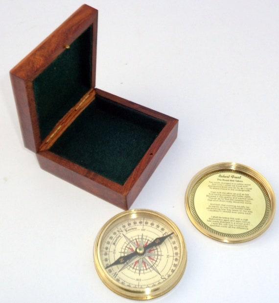 Shiny Brass Dollond London Pocket Marine Calendar Compass with Wooden Box