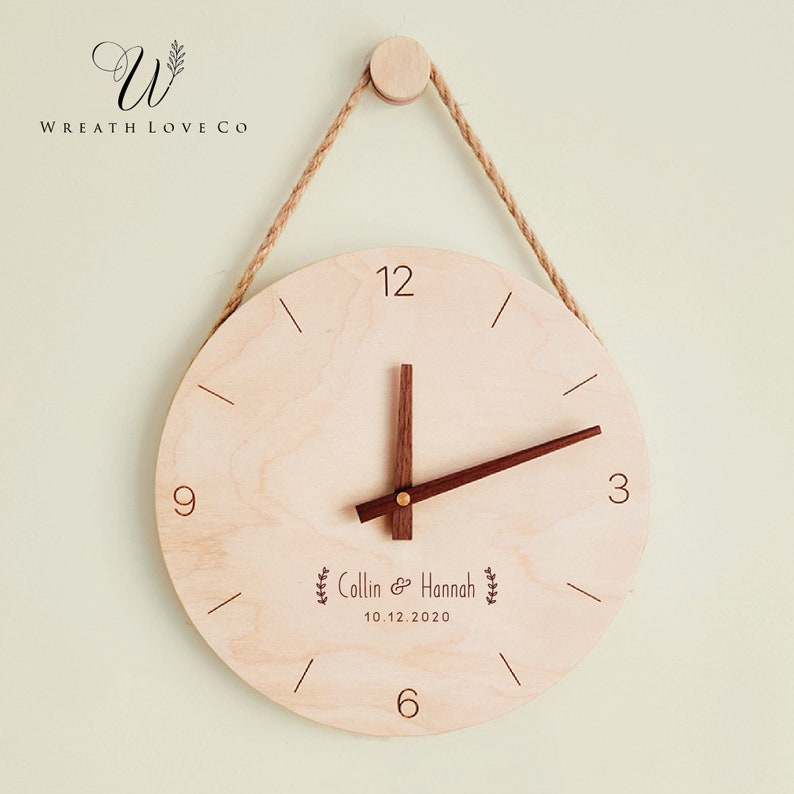 Personalized Wooden Clock  Custom Simple Style Wood Clock  image 0