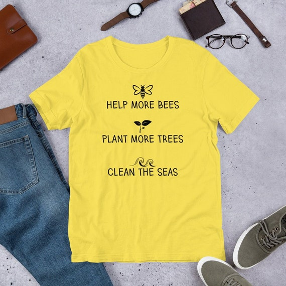 aa38e594b18cb Items similar to Help More Bees Plant More Trees Clean The Seas ...