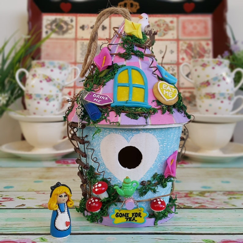 Alice In Wonderland Garden Decor / Fairy Cottage / Fairy House / Colourful  Birdhouse / Wonderland Decoration