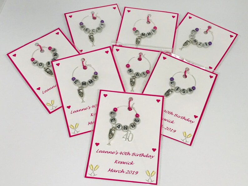 10 Linked Hearts Wine Glass Charm Wedding Favour Champagne Hen Night Party Gift