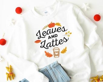 Leaves & Lattes jumper / Autumn jumper / Fall T-shirt / Autumn love sweatshirt / Cute fall gift