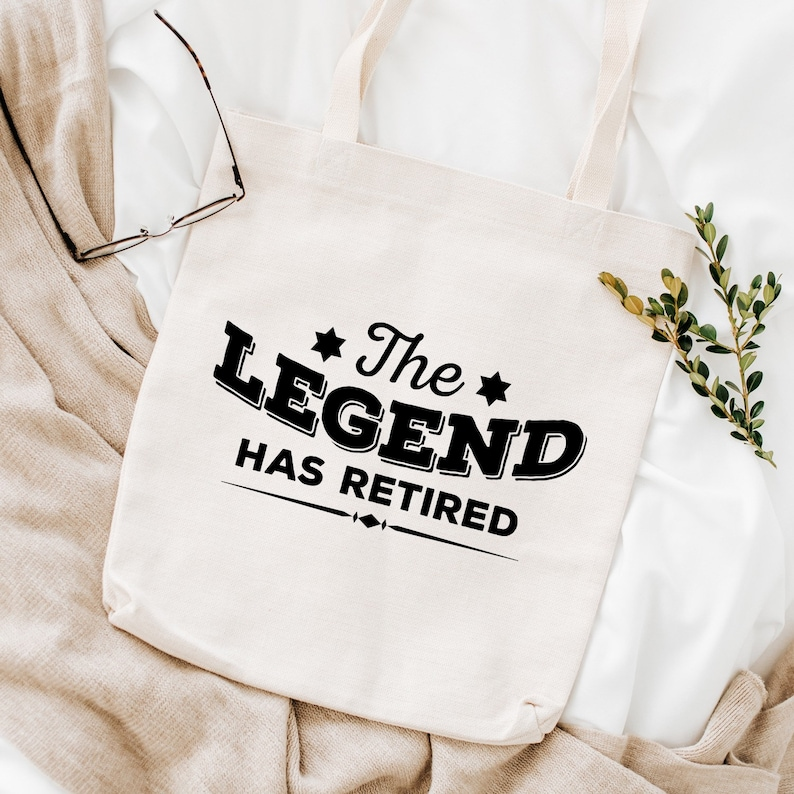 The legend has retired tote bag  Retirement gift for him or her  Retired shopping bag  Leaving job gift