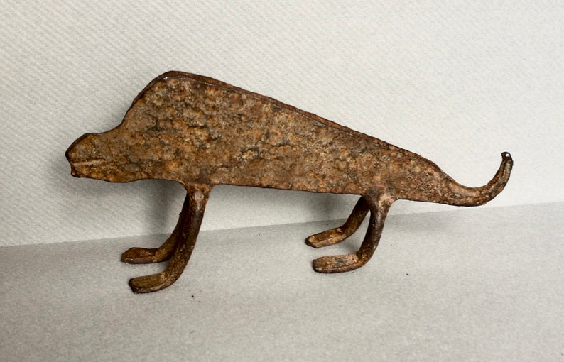 Tribal Art Collectible An Unusual Lobi Tribe Iron Chameleon from Burkina Faso Divination Object
