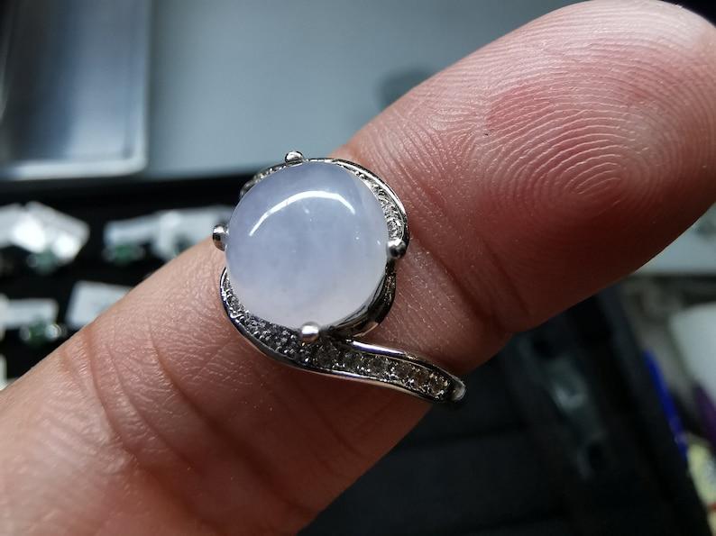 R2018K108190 Burmese Jadeite Jade \u7fe1\u7fe0\u7389 Icy Lavender Sterling Silver Ring