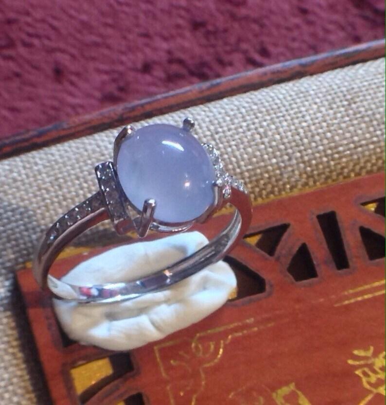 Burmese Jadeite Jade \u7fe1\u7fe0\u7389 Glassy Lavender White Gold Plated Ring