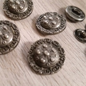 Silver Gothic Cross Snaps Set of 10 Leather Costume SCA Armor Medieval LARP Designer Coat Rock Punk Metal