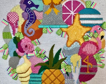 Lily Wreath Stitch Guide Only, PDF Format, Instant Download, Raymond Crawford Designs