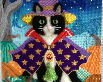 Stitch Guide Needlepoint Digital - Wizard of Paws Needlepoint - Brenda Stofft Black Cat #B-304