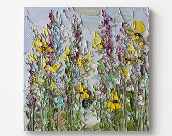 Textured landscape with bluebonnets and yellow wildflowers, Original oil painting with abstract flowers, Floral heavy texture wall art