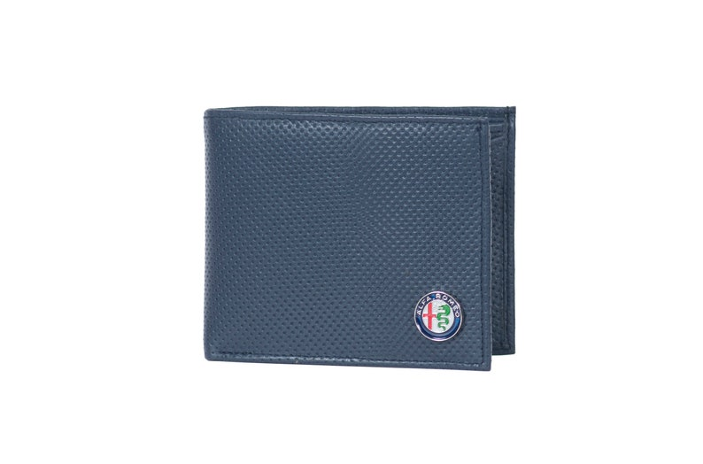 High Quality Leather Waller Made of Saffiano Leather Alfa Romeo Logo