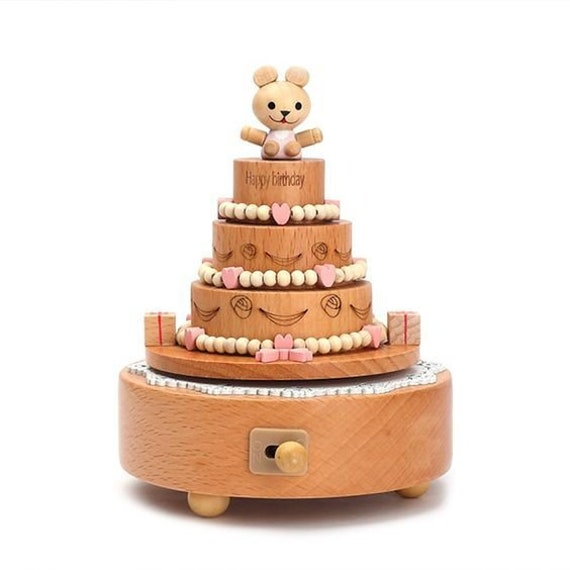 Wooden Music Box Birthday Cake Toy