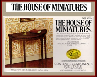 1//12 SCALE QUEEN ANNE TEA TABLE KIT #40039 HOUSE OF MINIATURES OPEN COMPLETE