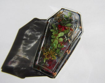 ring tray coffin ashtray jewelry box Flower and Gold Leaf Coffin box