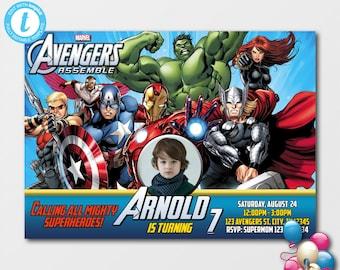 EDITABLE Avengers Birthday Invitation With PhotoAvengers InvitationSuperhero InvitationSuperheroes