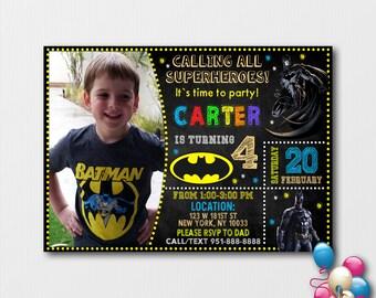 Batman Birthday Invitation With Picture Photo Superhero Personalized Invite