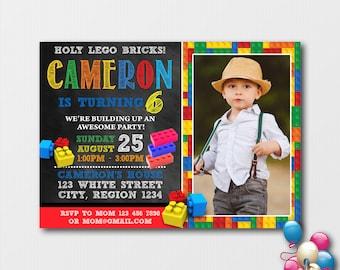 Building Blocks Birthday Invitation With Photo Colorful Printable Invitations Bricks Party Boy Invite