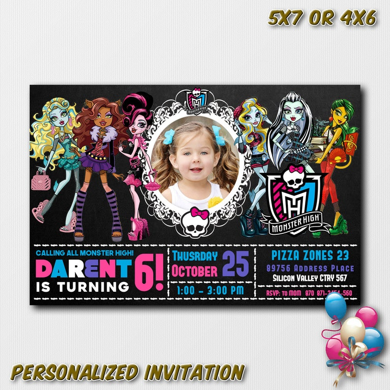 Monster High Birthday Party Invitations With Photo