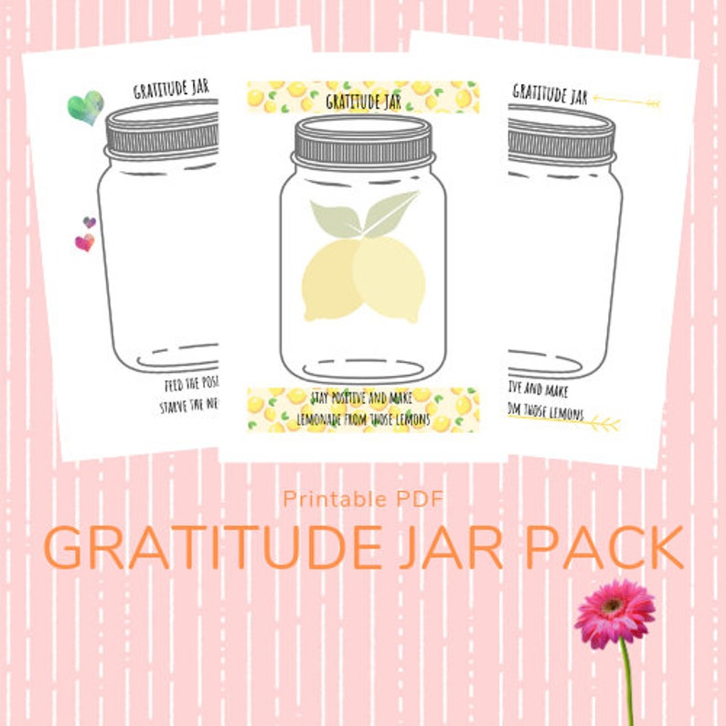 This is a graphic of Gratitude Jar Printable with gratitude journal
