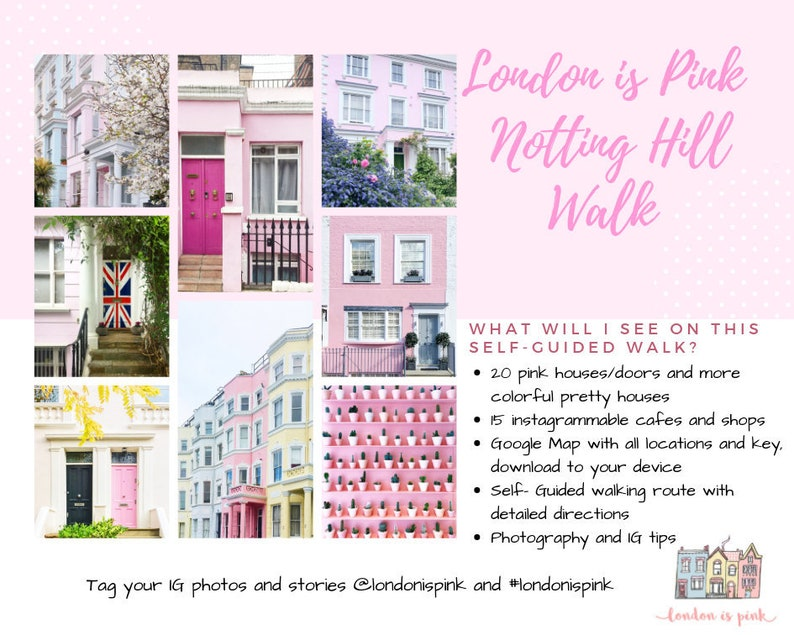 NOTTING HILL Instagram walking tour  instant download  image 0