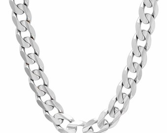bf206d3102a 925 Solid Sterling Silver 9mm Cuban Curb Chain Necklace, Solid Curb Link  Chain Necklace, Mens Heavy Necklace