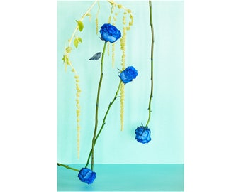 Blue Monday: Blue Roses, Floral Photo, Modern Art, Wall Hanging, Abstract Art, Decorative, Fine Art, Abstract Floral