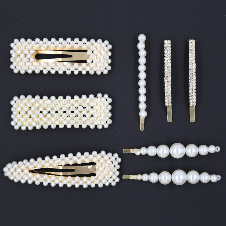 8 Pcs Of Pearl Hair Clip For Women Hair Pins For Girls Hair Decorative Pearl Alligator Clips Gold Fashion Styles