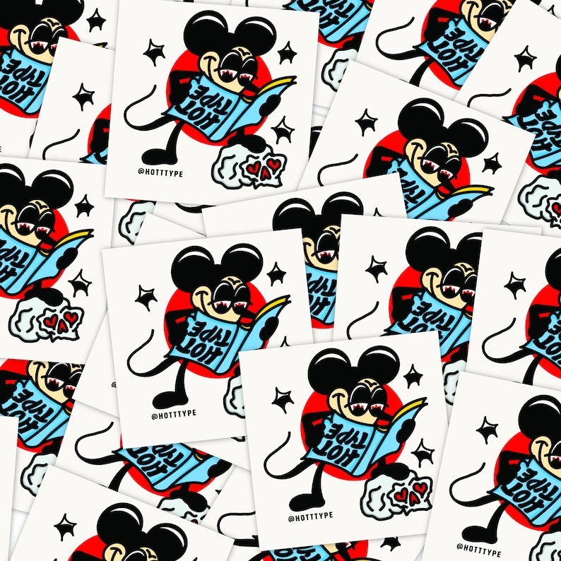 2in x 2in Hot Type Mickey Vinyl Sticker