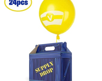 24-Pc or 6 pc Battle Royale Supply Drop Goodie Box for Gamer's Birthday Party, Balloons & Ribbons Included