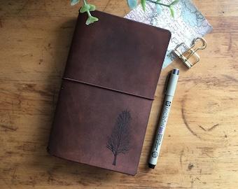 Brown Travelers Notebook, Tree Travelers Journal, Handmade Travelers Notebook, Journal, Bullet Journal, Travelers Notebook, TN