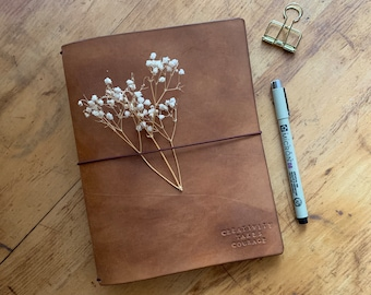 Handmade Leather Travelers Notebook with Personalization, Leather Journal, Personalized Leather, Bullet Journal