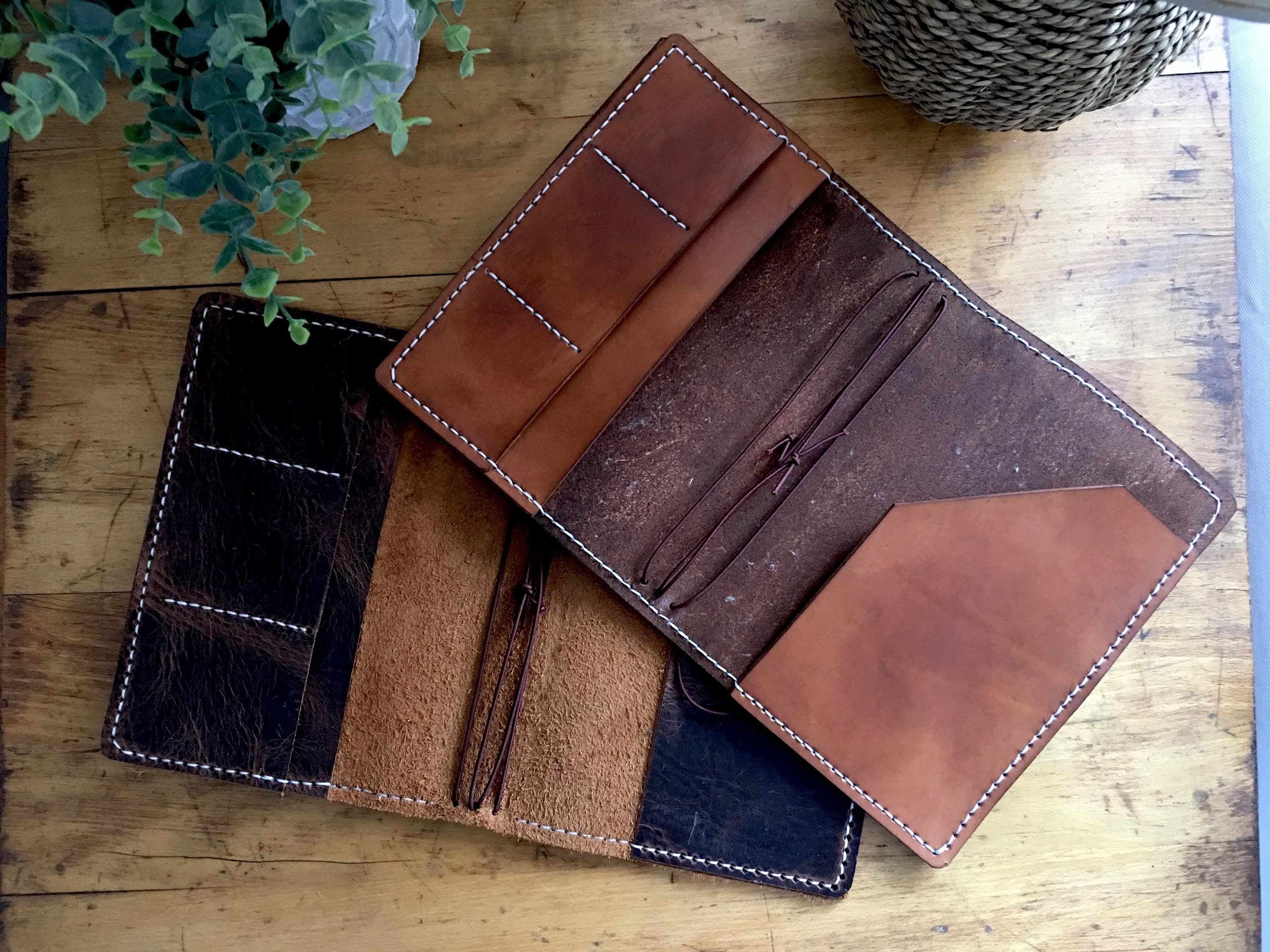 Leather Travelers Notebook with Pockets