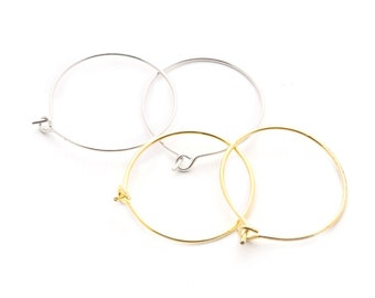 20 SILVER COLOUR EARRING HOOPS OR WINE GLASS CHARM RINGS,CHOSE 25mm 35mm 45mm