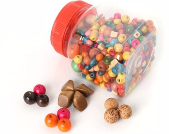 50pcs Assorted Colourful Bright Wooden Saucer Spacer Beads 14x6mm B67079
