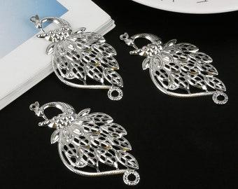 10 pieces filigree peacock pendant silver
