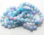 8MM Round Pink Powder Blue,Crystal Glass Beads, 100pcs bag