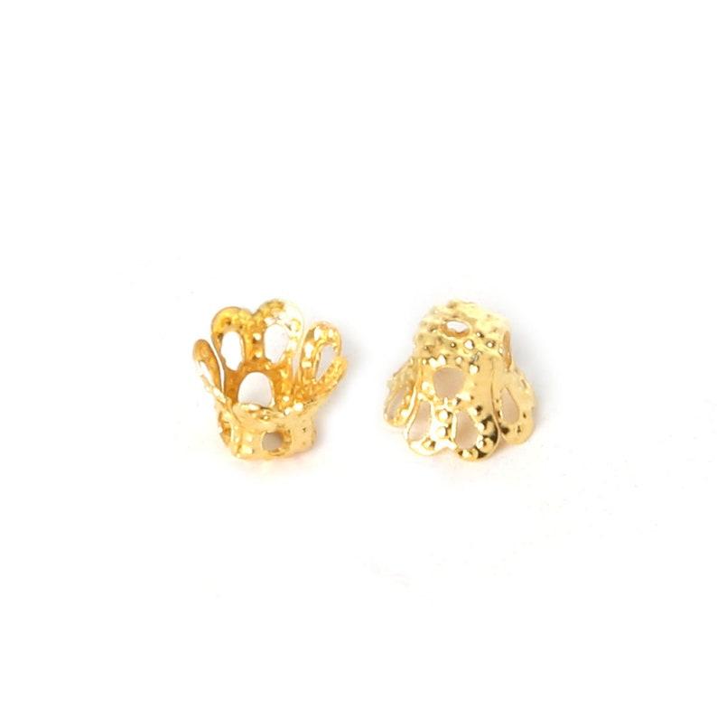 Gold Filigree Bead Caps 200 Gold Plated Filigree Bead Caps 6mm Gold Bead Caps Bulk Bead Caps