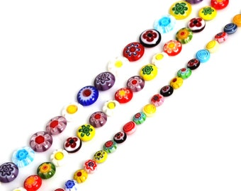 Millefiori Flower Flat Coin Glass Beads, Colorful Beads, Murano Beads, 6mm 8mm 10mm