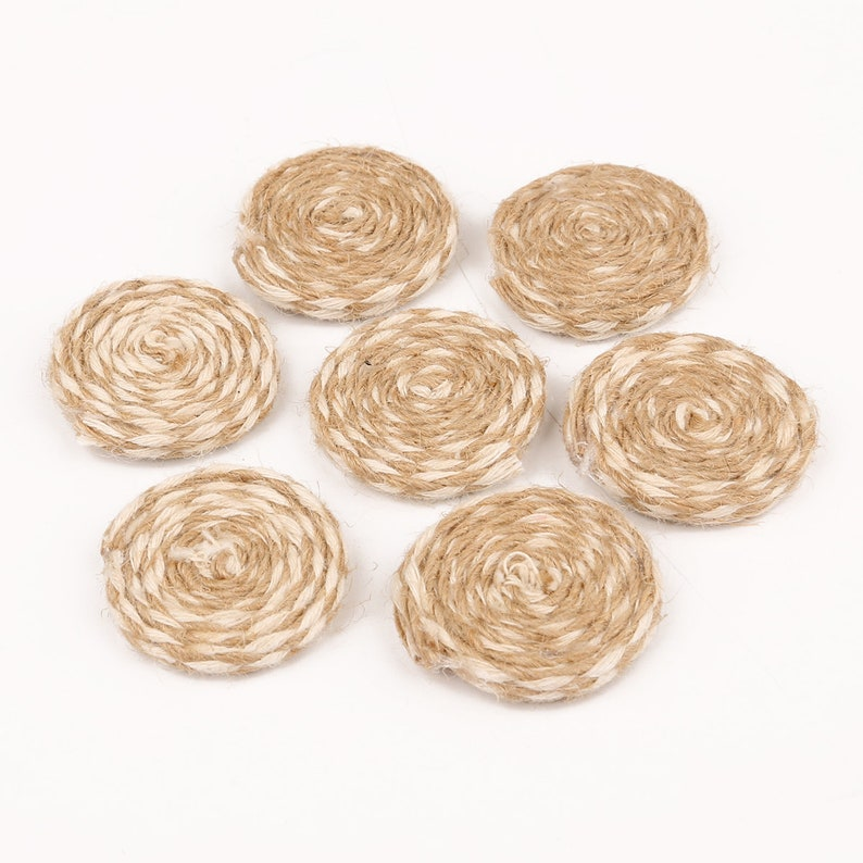Coin Shaped Rattan Pendant Wooden Straw Earring 28mm 10 pcs Brown Rattan Earring Charms