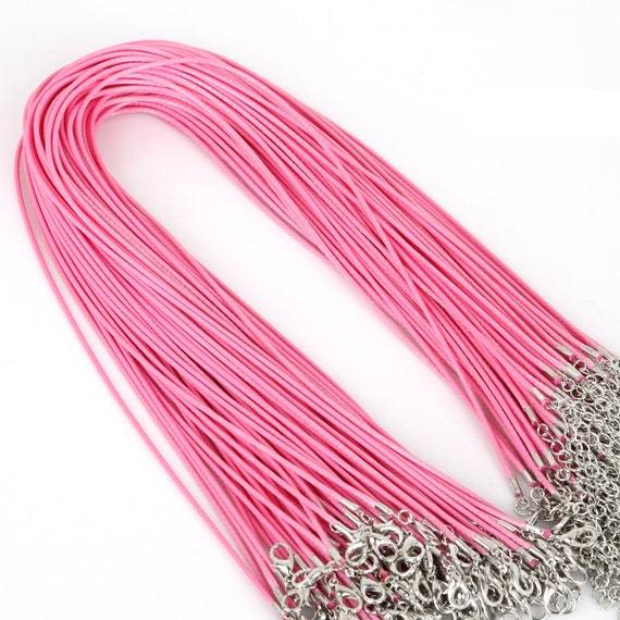 14K 2mm 16in Pink Leather Cord Necklace