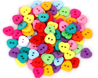 50pcs Mixed Heart Buttons 11mm 15mm / Rainbow Heart 2 Holes Plastic Buttons / Mix Color Heart Sewing Buttons / Sew Through Buttons