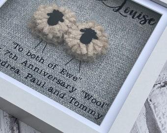 Personalised Valentines 7th Wedding Gift Anniversary Gift Couple Lovers Sheep Ewe Wool Framed Art Work - Choose your wording.