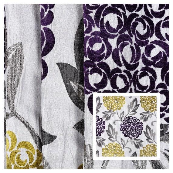 Purple Saffron Floral Leaf Design Pattern Chenille Curtain Etsy